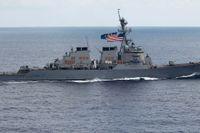 Vita huset ville att den amerikanska presidenten skulle slippa se USS John McCain. Arkivbild.