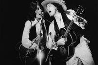 Joan Baez och Bob Dylan i Providence i november 1975. Arkivbild.