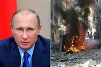 Rysslands president Vladimir Putin och ett brinnande fordon på Aleppos gator.
