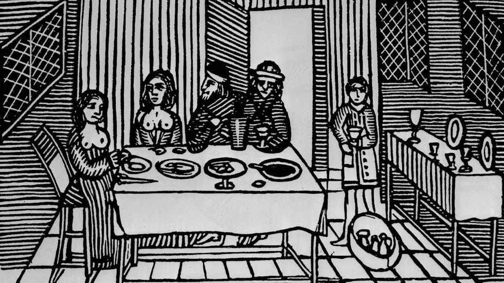 Bordell, träsnitt från 1500-talet.