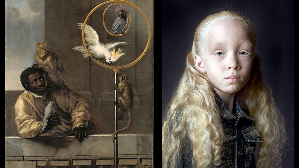 Vänster: David Klöcker Ehrenstrahl: Neger med papegojor och markattor(1670). Höger Pierre Gonnord: Iris (2011)