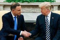 Polens president Andrzej Duda vill gärna ha en permanent amerikansk militärbas i Polen. Det framförde han till president Donald Trump som verkade klart intresserad.