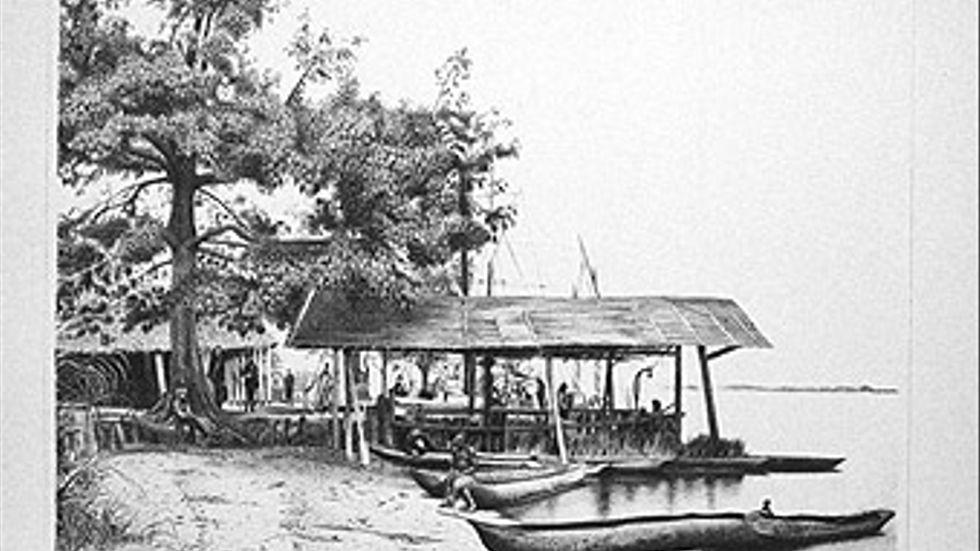 Handelsstation vid Ponta Lenha vid Kongofloden i dåvarande Belgiska Kongo.
