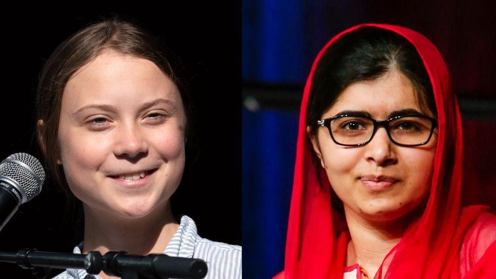 Greta Thunberg och Malala Yousafzai träffades i Oxford, Storbritannien. Arkivbilder i montage.