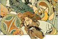 """Ragnarök i den brittiske konstnärens George Wrights tappning, illustration ur """"Norse stories retold from the Eddas"""" från 1908 (beskuren)."""