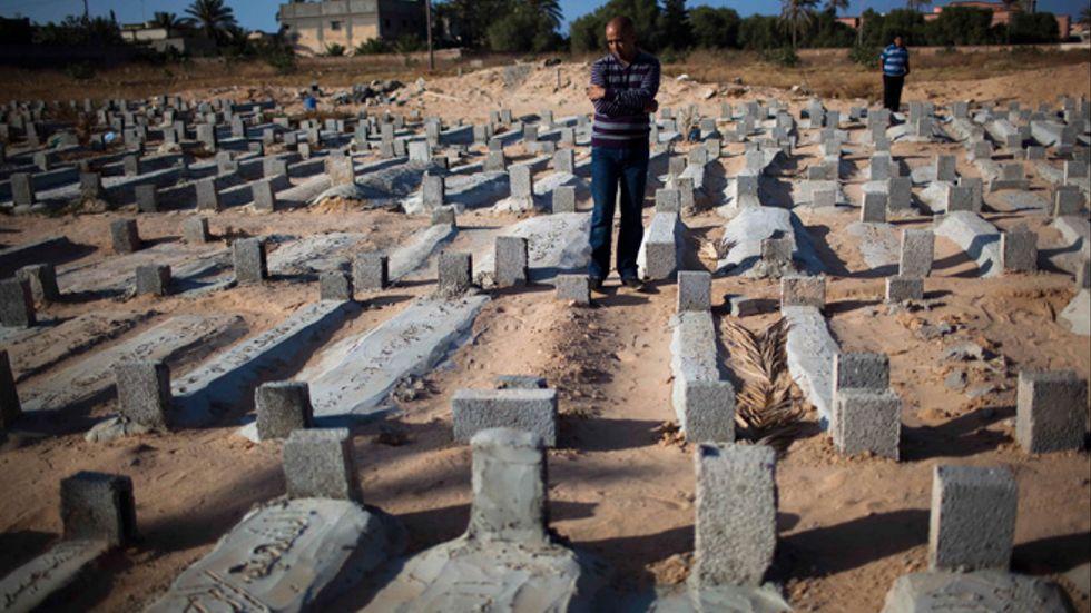 Gravarna i staden Misrata tillhör män som dödats sedan upproret mot Gaddafi startade.