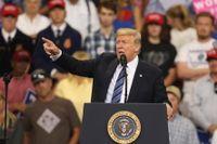 USA:s president Donald Trump under ett tal i Billings, Montana, på torsdagen den 6 september.