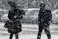 Ymnigt snöfallet i Malmö vid lunchtid på tisdagen som sedermera gick över i regn.