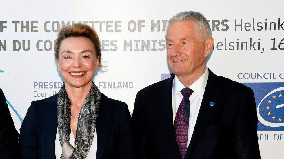 Marija Pejcinovic Buric har utsetts till Europarådets nästa generalsekreterare. Här med företrädaren Thorbjørn Jagland. Arkivbild.