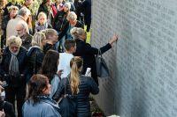 Minnesceremoni den 28 september 2014 på 20-årsdagen av Estonias förlisning. Arkivbild.