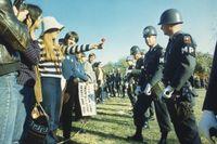 En demonstrant ger militärpolisen en blomma i samband med att 50 000 demonstranter under ledning av Abbie Hoffman omringade Pentagon i oktober, 1967.