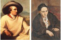 Goethe (målad av Tischbein) och Gertrude Stein (målad av Picasso) är exempel på litteraturvetaren Marjorie Perloffs vitt skilda litterära intressen.