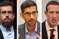 Från vänster: Twitters vd Jack Dorsey, Googles vd Sundar Pichai och Facebooks vd Mark Zuckerberg. Arkivbilder/montage.