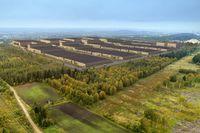 Illustration över hur Northvolts batterifabrik i Skellefteå ska se ut, när den är färdigbyggd – en investering på omkring 40 miljarder kronor.