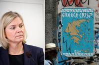 Magdalena Andersson är orolig för en ny Greklandskris.