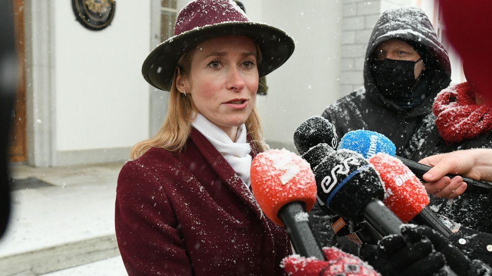 Kaja Kallas har fått till stånd en ny regering och kommer att bli Estlands premiärminister. Bilden är tagen i samband med att regeringsförhandlingarna skulle starta, den 14 januari.