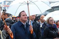 Statsminister Stefan Löfven (S) på manifestationen Refugees Welcome i Stockholm den 6 september 2015.