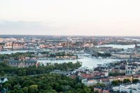 Flygbild över Stockholm tagen från en helikopter.