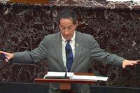 Jamie Raskin, som leder riksrättsåtalet mot USA:s expresident Donald Trump, talar i senaten.