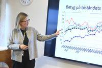 Sidas generaldirektör Carin Jämtin presenterar sin myndighets årliga opinionsundersökning för pressen.