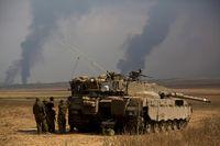 En israelisk stridsvagn på gaza-remsan.