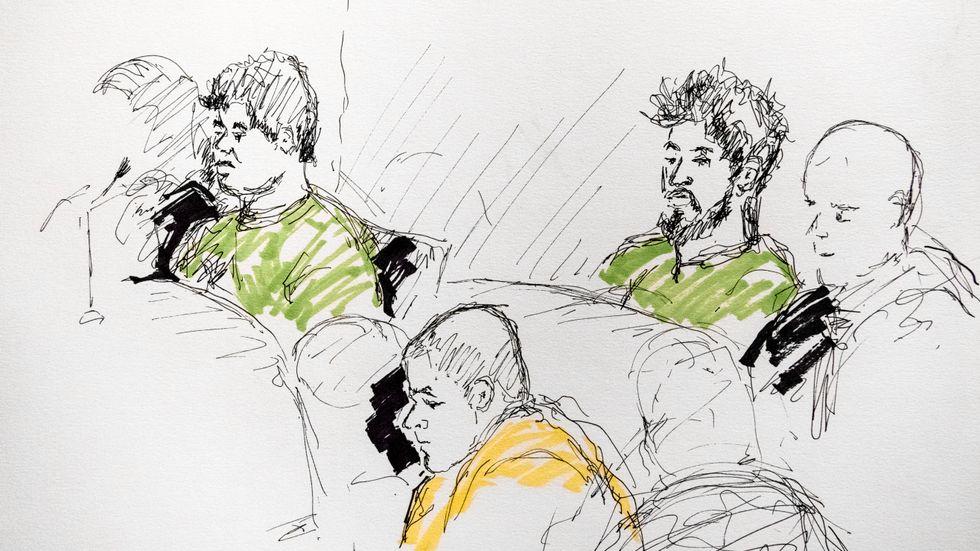 Hovrätten skärper straffen mot de tre männen för Facebook-våldtäkten i Uppsala. Illustration från tingsrätten.
