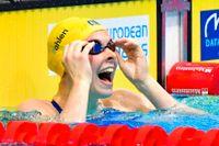 BUDAPEST 20210519 Sophie Hansson vinner finalen i 100m bröstsim under sim-EM i Budapest. Foto: Jonas Ekströmer / TT kod 10010