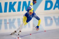 Sveriges Nils van Der Poel under lördagens 5000 meter på skridsko-EM i Heerenveen.