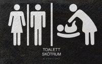 Skylt till offentlig toalett.