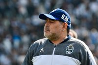 Diego Maradona under en match i Argentina i september förra året. Arkivbild.