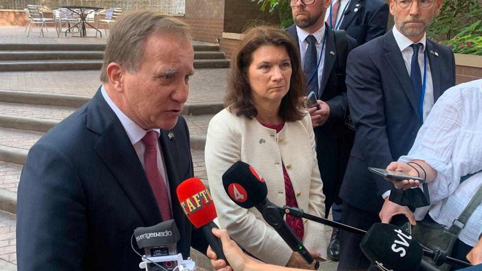 Statsminister Stefan Löfven (S) och utrikesminister Ann Linde (S) vid en pressträff i samband med FN:s generalförsamlings allmänna debatt i New York.