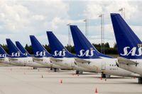Aktien i det krisdrabbade flygbolaget SAS handelsstoppades efter kraftiga kursrörelser. Arkivbild.