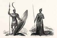 Brittisk gravyr: Kung Shaka och en profetissa.