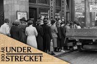 Stockholmare i kö för att köpa ägg, 1941