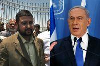 Hamas talesperson Sami Abi Zuhri och Israels premiärminister Benjamin Netanyahu.