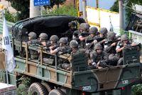 Sydkreansk militär transporteras i Goseong i södra Sydkorea.
