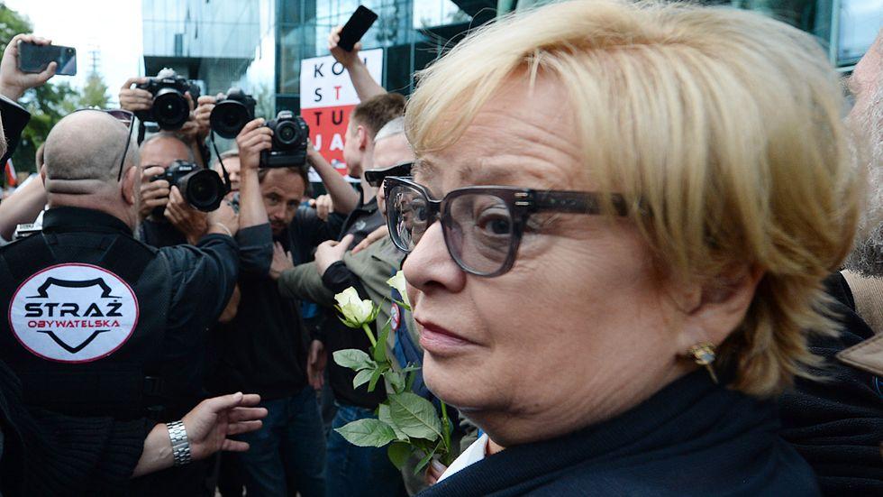 Chefsdomaren i Polens högsta domstol, Malgorzata Gersdorf, har vägrat att gå i pension. Arkivbild.