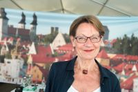 Gudrun Schyman på plats i Almedalen.