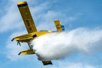 Ett brandflygplan från MSB. Arkivbild.