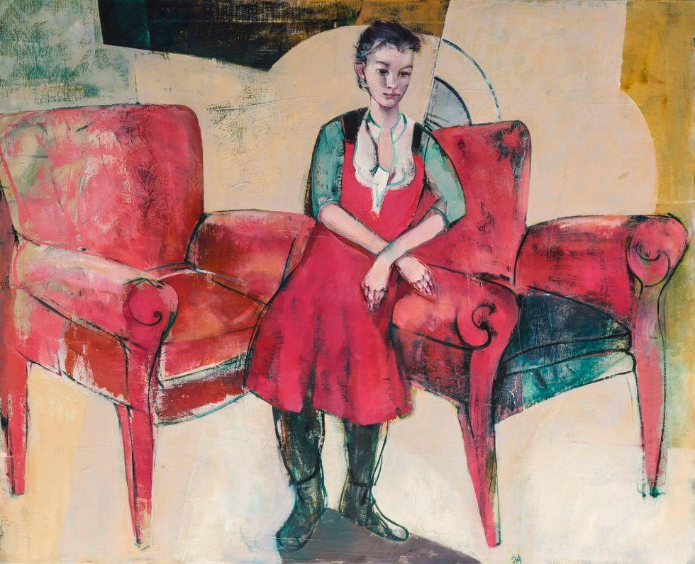 """""""Andrea – flicka mellan stolar"""" av den norske konstnären Dag Aronson."""