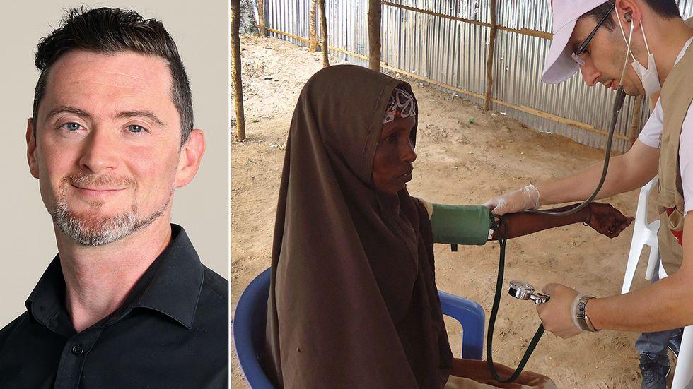 Pieter-Jan van Eggermont. Till höger: En bild från svälten i Somalia 2011, där FN beräknar att försenad hjälp ledde till 260000 dödsfall.
