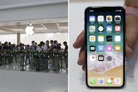 Köande väntar på att hämta ut Iphone X hösten 2017.