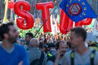 Demonstranter mot TTIP i Bryssel på tisdagen.