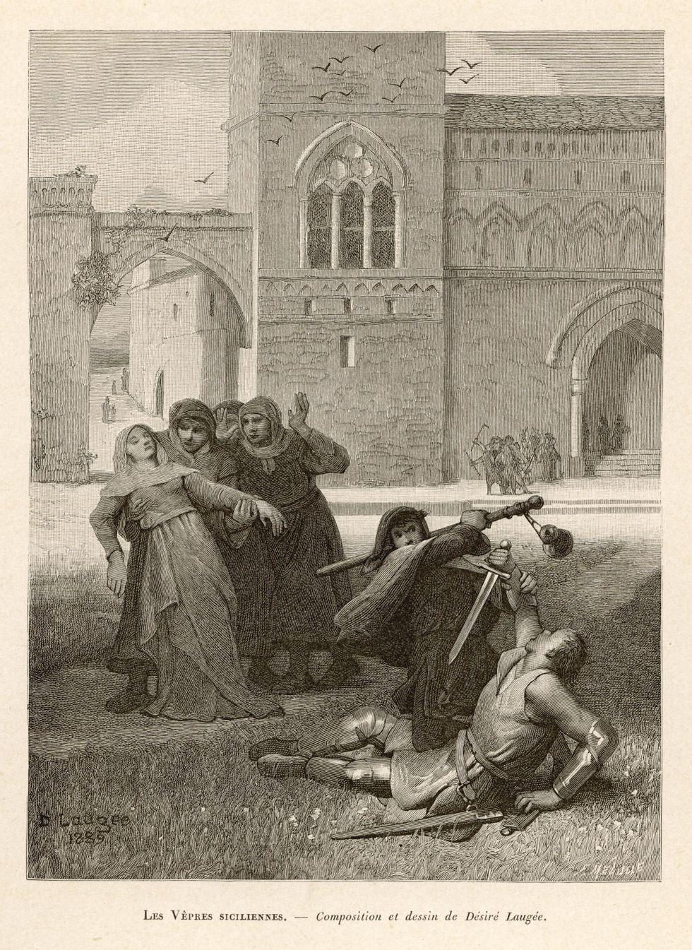 """Illustration från 1800-talet av """"Den sicilianska aftonsången"""" 1282."""