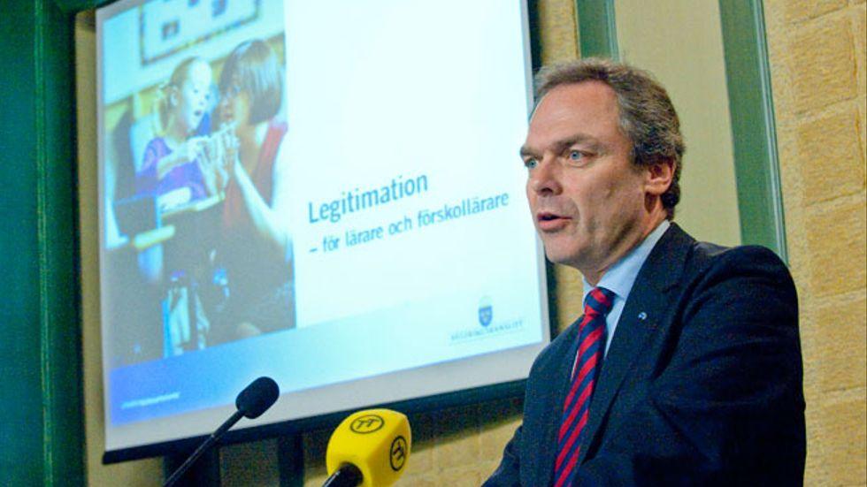 Utbildningsminister Jan Björklund presenterade regeringens förslag om lärarlegitimationer i april 2010.