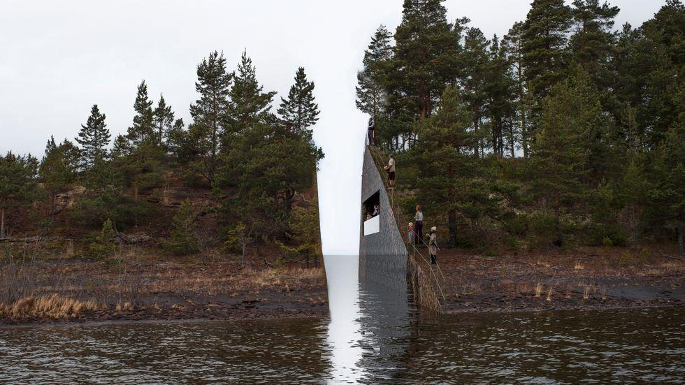 Illustration av hur monumentet på Sørbråten var tänkt att utformas.