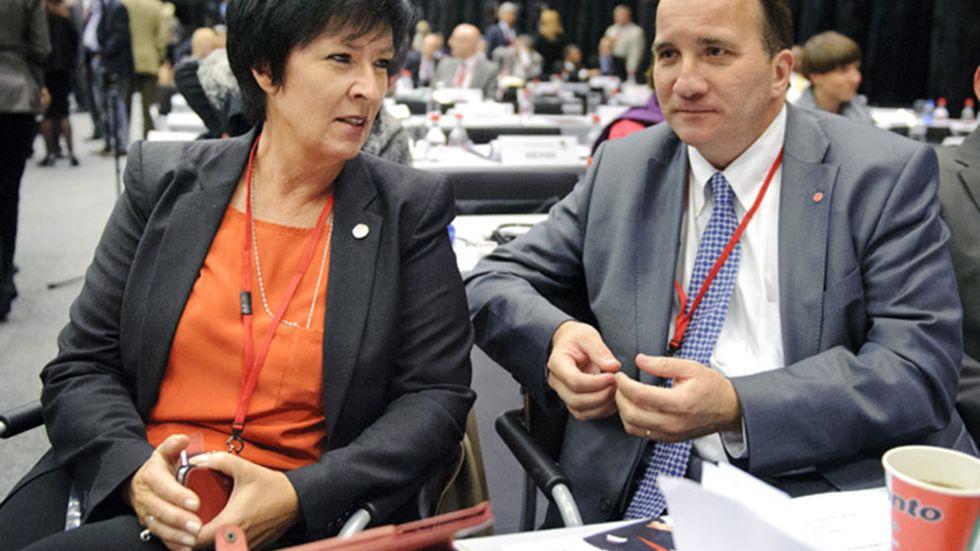 Mona Sahlin och Stefan Löfven i samband med att Sahlin kandiderade till posten som generalsekreterare för Socialistinternationalen.