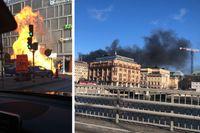 Ett svart rökmoln kunde ses över Stockholm efter att en buss exploderat vid infarten vid Klaratunneln i Stockholm.