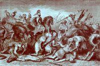 """Hannibals trupper i segerns ögonblick, ur Ward & Locks """"The illustrated history of the world""""."""