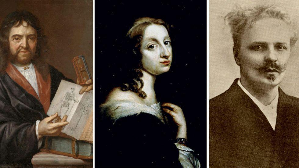 Olof Rudbeck dä, drottning Kristina och August Strindberg, tre av de sex svenskar som Peter Burke lyfter fram som några av lärdomshistoriens mest färgstarka gestalter.